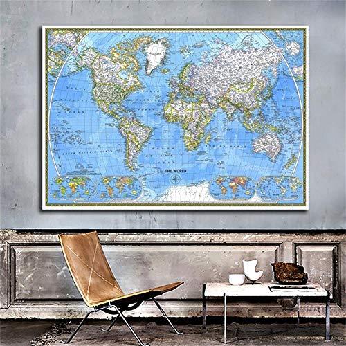 Heng Weltkarte 150 * 100cm Horizontale Karte der Welt Kunstpapier Malerei Wohnkultur Wandplakat Schulbürobedarf