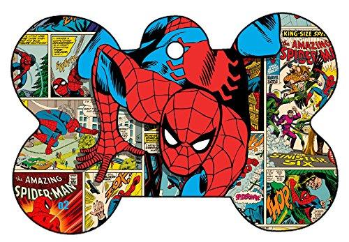 O2 Team Avengers Iron Man Spider-Man Thor Captain America Collage Comic Art Design Custom Logo Dog Pet Cat ID Tag Bone Shape Personalized Key Ring (Spider-Man)