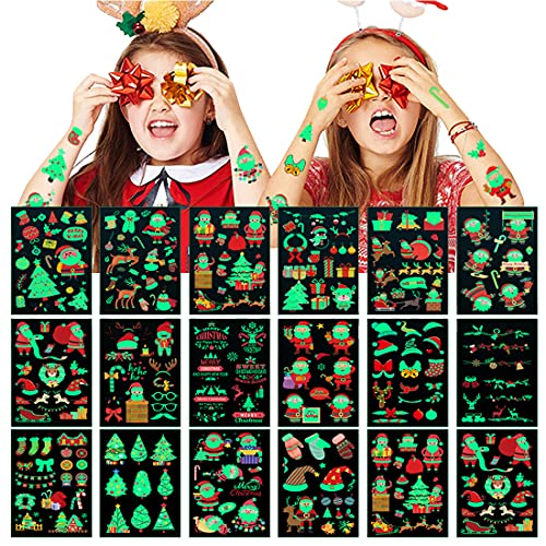 Set van 18 kindertattoos, lichtgevende kersttatoeages, stickers, glow in donker, kinderen, cartoon-tatoeages, gezicht, hals, armdecoratie, waterdichte tatoeages voor kinderen, jongens en meisjes
