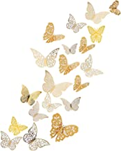 Muurstickers, 48 stuks, 3D afneembare vlinders, vlinders, vlinders, decoratie, metallic wandtattoo, met plakpunten voor ho...