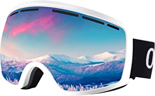 Occffy Ski Goggles Snowboard Sports OTG Goggles, UV Protection Skiing Goggles with Anti Fog for Mens Womens Youth Helmet Compatible HX001