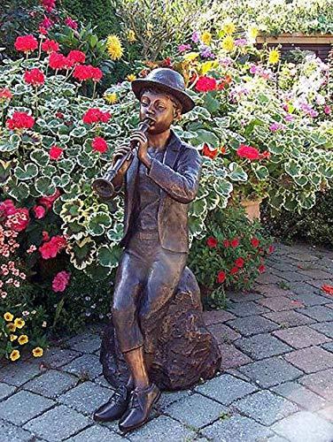 pompidu-living Wasserspeier Junge mit Flöte, Bronzeguss