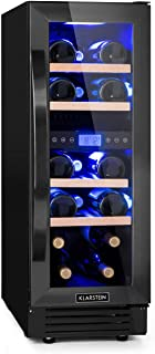 Klarstein Vinovilla Onyx 17 nevera para vinos con puerta acristalada - 53 litros, 17 botellas de vino, 30 cm de ancho, ilu...