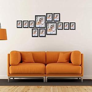 PETAFLOP Multiple Black Picture Frames Set of 12, Two 8x10 Picture Frame, Four Picture Frames 5x7, Six 4x6 Frame
