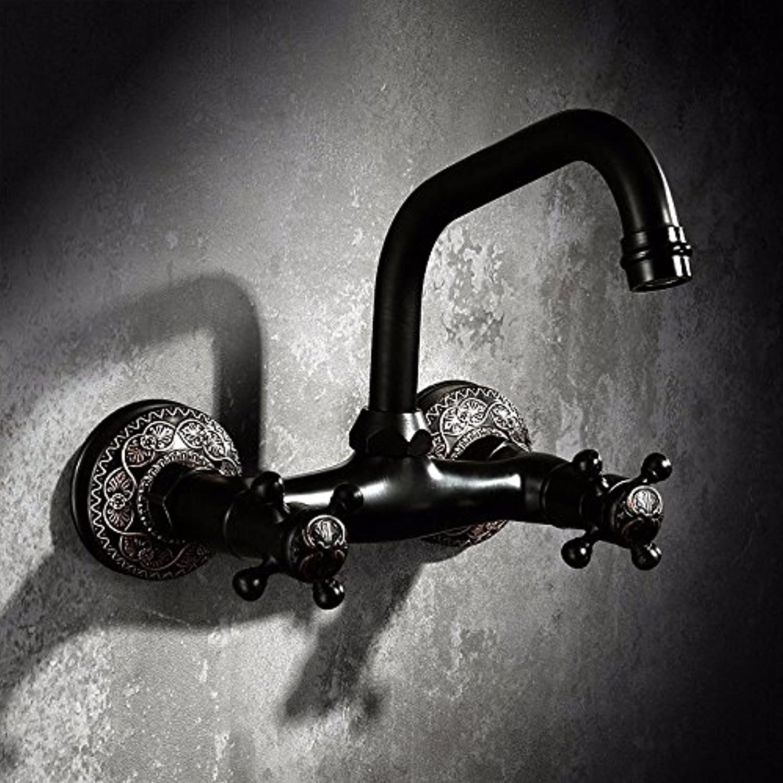 LHbox Schwarz in die Wand Voller Kupfer Amerikanische Antike Wasserhahn Handwaschbecken Kalte und Warme Doppelloch Taichung Waschtischmischer, in die Wand.