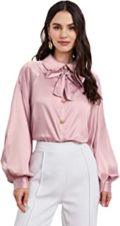 Romwe Women's Elegant Bow Tie Lantern Long Sleeve Pull On Silk Satin Blouse Top Tee