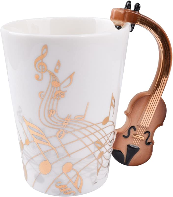 12 9 Oz Violin Mug Music Note Coffee Mug Ceramic Violin Music Cup Mug Gifts For Violin Players Musicians Gold