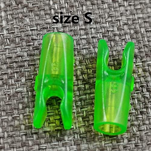 HUYANJUN 100pcs Tiro con Arco Nocks S/L Tamaño Flecha Nock para Fibra de Vidrio de Carbono Arrow Arco de Caza Dispone de Accesorios al Aire Libre 6 Colores Bricolaje (Color : S Size t-Green)