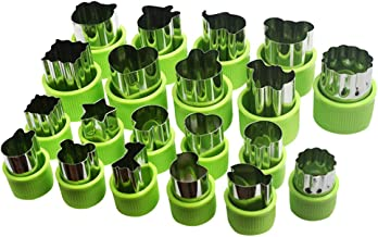 Aoktech 20 PCS Stainless Steel Vegetables Fruit Shape Cutters Set Kid Food Mold Mini Cute Sandwich Cookie Mould and Biscui...