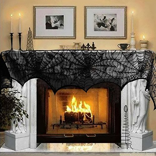 Aytai Cobweb Fireplace Scarf Halloween Decoration Black Lace Spiderweb Mantle Scarf Halloween Party Supplies, 18 x 96 inch (Black)