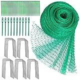 Vogelschutznetz 4 x 10 m Grünes Vogelnetz Teichnetz Baumnetz für Pflanzenschutz Gartennetz Obstbaumnetz mit 40 Kabelbindern und 20 U-förmigen Stiften und 10 Wiederverwendbare Kabelbinder(Grün-a)