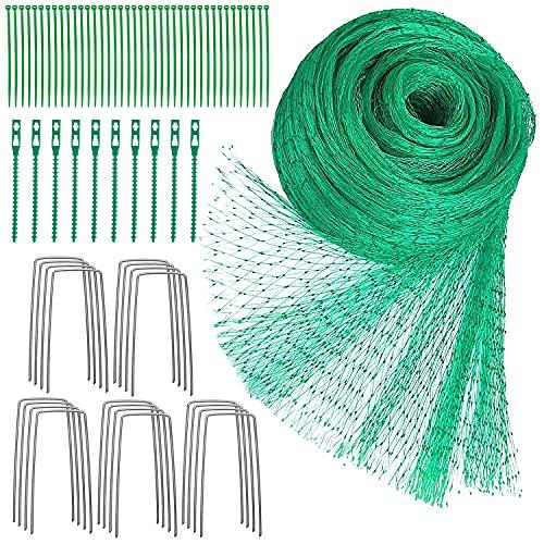 Vogelschutznetz 4 x 10 m Grünes Vogelnetz Teichnetz Baumnetz für Pflanzenschutz Gartennetz Obstbaumnetz Erbsenetz mit 40 Kabelbindern und 20 U-förmigen Stiften und 10 Wiederverwendbare Kabelbinder