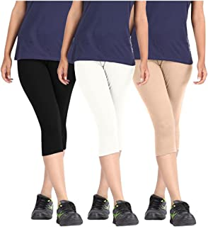 Pixie Women's Solid Color Casual Capri/Above Knee Length Shorts in Combo Pack of 3 (Black, White and Beige) - Free Size