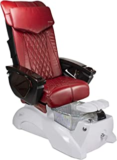 FLORENCE 18 LX Shiatsulogic Pedicure Chair White Pearl Tub w/Discharge Pump Stylish Pedicure Tub with Pipe-less Whirlpool system Perfect for All Pedicure Spa, Deep Red Cover Set