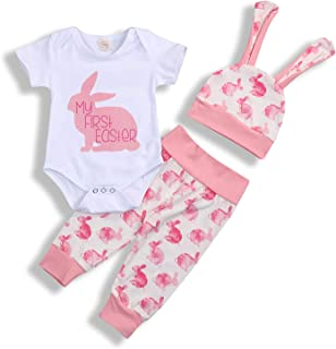 d3eb09cf0 My 1st Easter Newborn Baby Boy Girl Outfits Rabbit Romper Top+Cartoon 3D  Bunny Ears