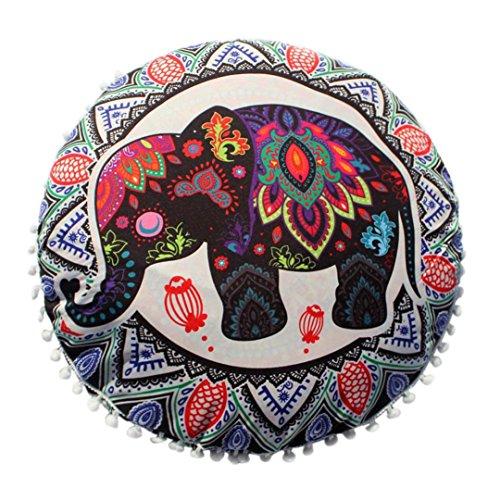 Kword Cuscini Caso, Indiano Mandala Rotondo Bohemien Casa Cuscino Cuscini Divano Elefante Stampa Nappa Cuscini Copertina (B)