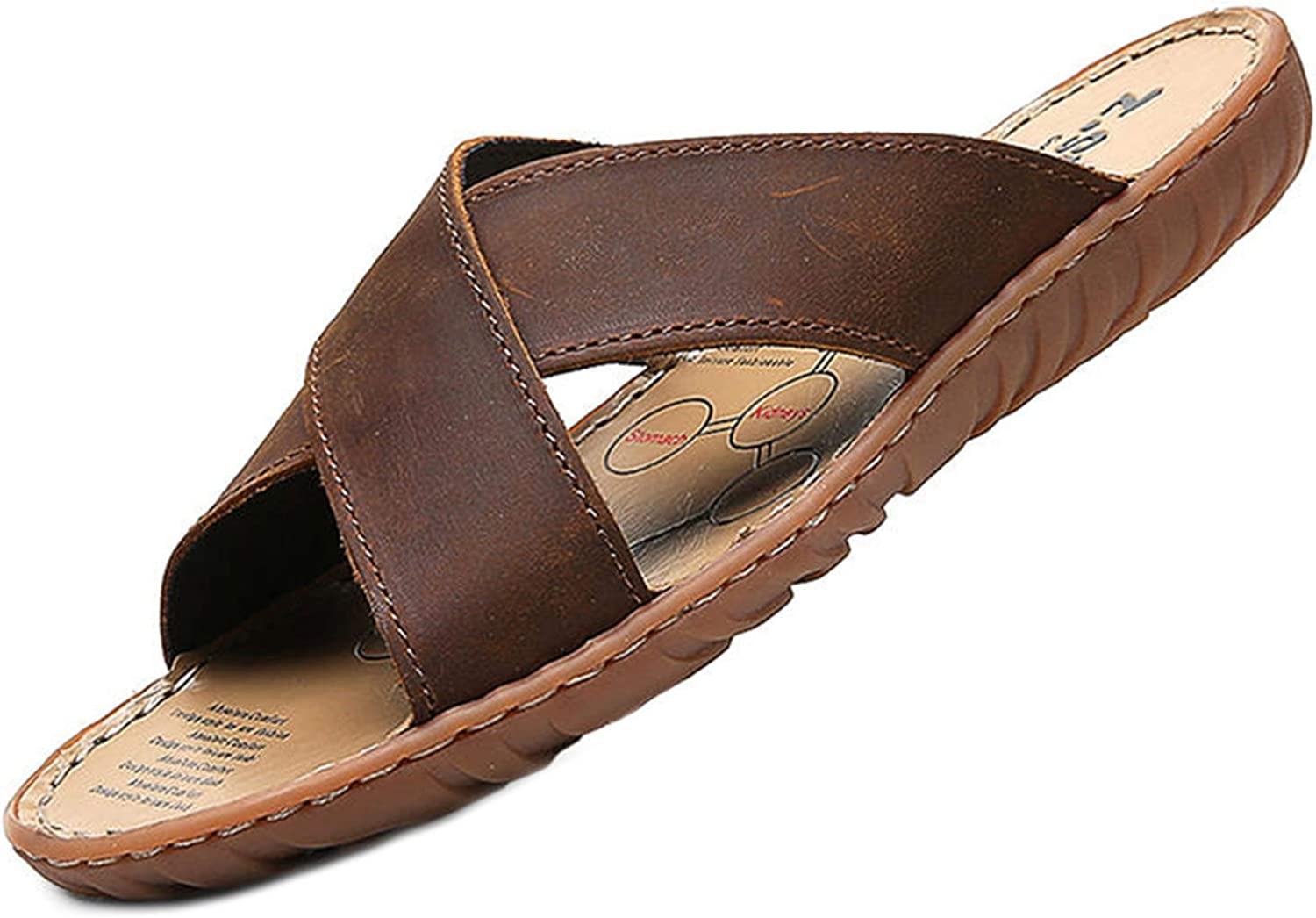 LIAN Store Summer Men Slippers Leather Cross Strap Beach Water shoes Men Brown Slides