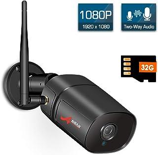 【2020 Nuevo】 Cámara IP Exterior Vigilancia WiFi 1080P Cámara de Seguridad Exterior 2MP Cámara Inalámbrica Visión Nocturna Audio Bidireccional Detección de Movimiento Tarjeta SD de 32GB