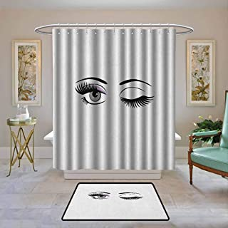 Waterproof Fabric Shower Curtain Eyelash,Cartoon Style Dramatic Woman Eyes with Long Lashes Winking Flirting Gesture, Lilac Grey Black,Machine Washable - Shower Hooks are Included 36