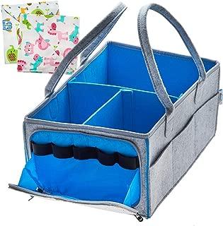 Baby Diaper Caddy Organizer|Nursery Essentials| Infant Portable Car Travel Storage Bag| Changing Table Organizer| Registry Must Haves| Newborn Boy Girl Shower Gift|