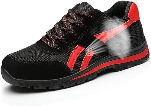Bottes de travail Chaussures de sécurité estivales creuses et déodorantes pour l'été, chaussures de travail pour hommes avec embout en acier anti-écraseHommest et anti-perforation bottes de sécurité