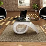 Tidyard Modern High Gloss Coffee Table with Oval Glass Top, End Side Table Living Room Furniture White