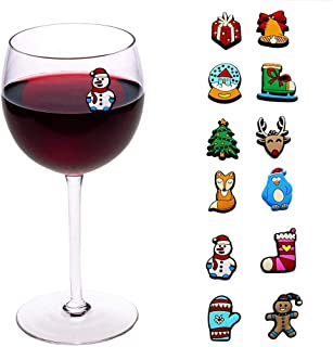Christmas Holiday Magnetic Wine Charms, Glass & Cocktail Markers Set of 12 - Wine Accessories, Gift Favors, Stocking Stuffers