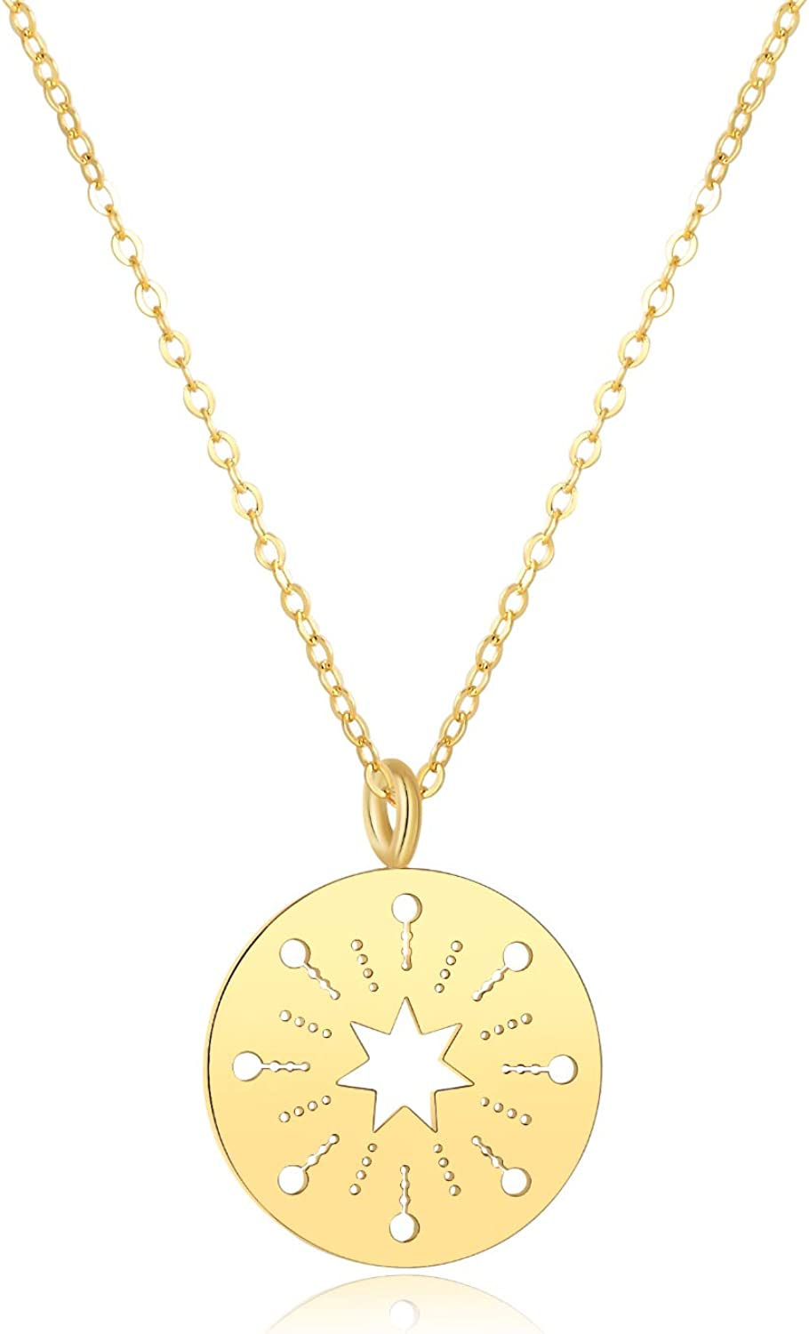"""Women's """"Firework"""" Gold Coin Pendant Necklace, 14k Gold Round Circle Disc Medallion Necklace, Gold Chain Minimalist Necklace for Women"""