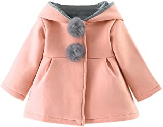 Sunbona Toddler Baby Girls Cute Autumn Winter Cloak Jacket Outerwear Rabbit Ear Hooded Warm Thick Coat Clothes, Gray)