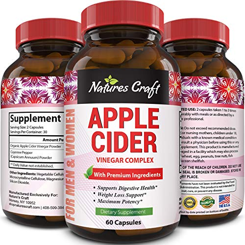 Natures Craft Apple Cider Vinegar Pills – For Weight Loss ACV Capsules Extra Strength Fat Burner Natural Supplement Pure Detox Cleanse Appetite Suppressant Immune Booster – for Women and Men 60 caps 1