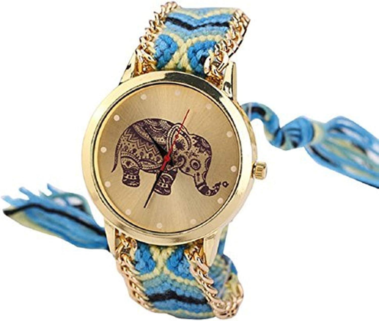 Lowpricenice TM Women El Paso Mall Elephant Pattern Bombing free shipping Band Bracele Weaved Rope