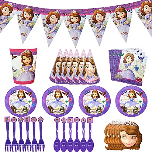 Hilloly 76Pcs Birthday Decoration,Sofia Princess Partyware Set, Tableware Kit,Children's Birthday Party Decorations,Including Paper Cups,Paper Hats,Spoon,Eye Masks and Other Party Supplies