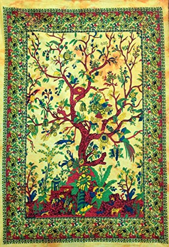 THE ART BOX Wandteppich Gelber Baum des Lebens Wandbehang Psychedelische Wandteppiche Indische Baumwolle Twin Tagesdecke Picknickplatte Wanddekor Decke Wandkunst (klein, 30x40 Zoll)