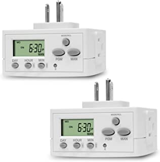 TOPGREENER Heavy Duty 7 Day Programmable Plug-In Digital Timer for Lights, Lamps, Electrical Outlets, Indoor   Grounded Outlet, Random and Daylight Savings Timer Switch   120V, 15A, 1800W, 2 Pack