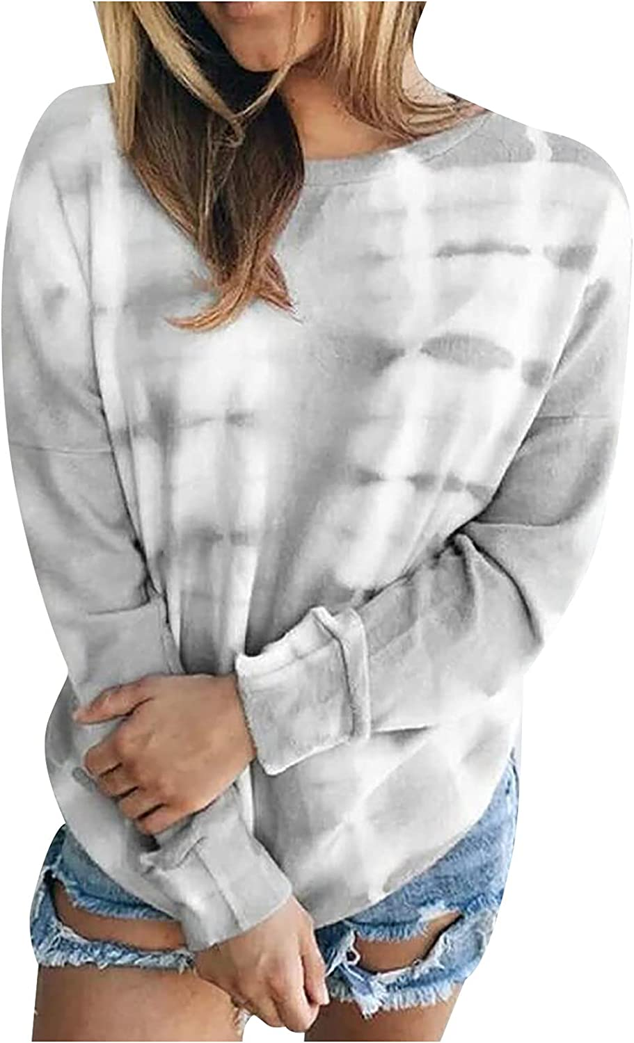 Tie Dye Tops for Women Casual Long Sleeve Blouses Loose O Neck Pullover Fashion Sweatshirts Comfy Shirts