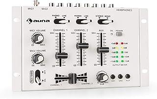 auna TMX-2211 MKII Mezclador para DJ, 3/2 Canales, 2 x 6.3mm Mic-In, 2 x RCA-Linein con Phono-Switch, RCA-AuxIn, Crossfader, Función Talkover, Salida para Auriculares, Montaje en Rack, Blanco