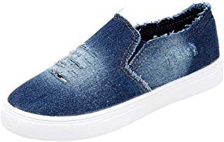 Hunzed Women Shoes Canvas Flat Round Tie with Denim Casual Women's Sneakers
