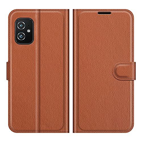 HERCN Funda Compatible con ASUS Zenfone 8 ZS590KS 5.9',Premium Slim Flip Case de PU Cuero con Ranura para Tarjetero,Cierre Magnético y Función de Soporte Case Cover (Marrón)