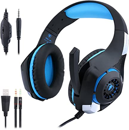 Misszhang-US Adjustable Stereo 3.5mm Audio Jack Wired Over-Ear Gaming Headset with Microphone Black