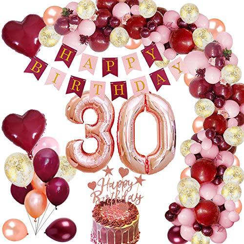 MMTX 30 Geburtstag Dekoration Burgunder Geburtstagdeko mit Folienballon Wein Rot Rose Gold Konfetti Luftballons Banner Cake Topper für Mädchen Frau Geburtstag Jubiläum Gastgeschenke