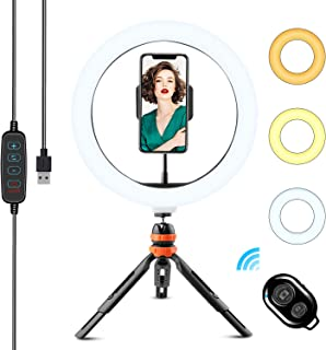 WOWGO Luce ad Anello, 10'' LED Selfie Ring Light con Treppiedi, Telecomando Wireless, 3 Modalità di Colore e 11 Livelli di...