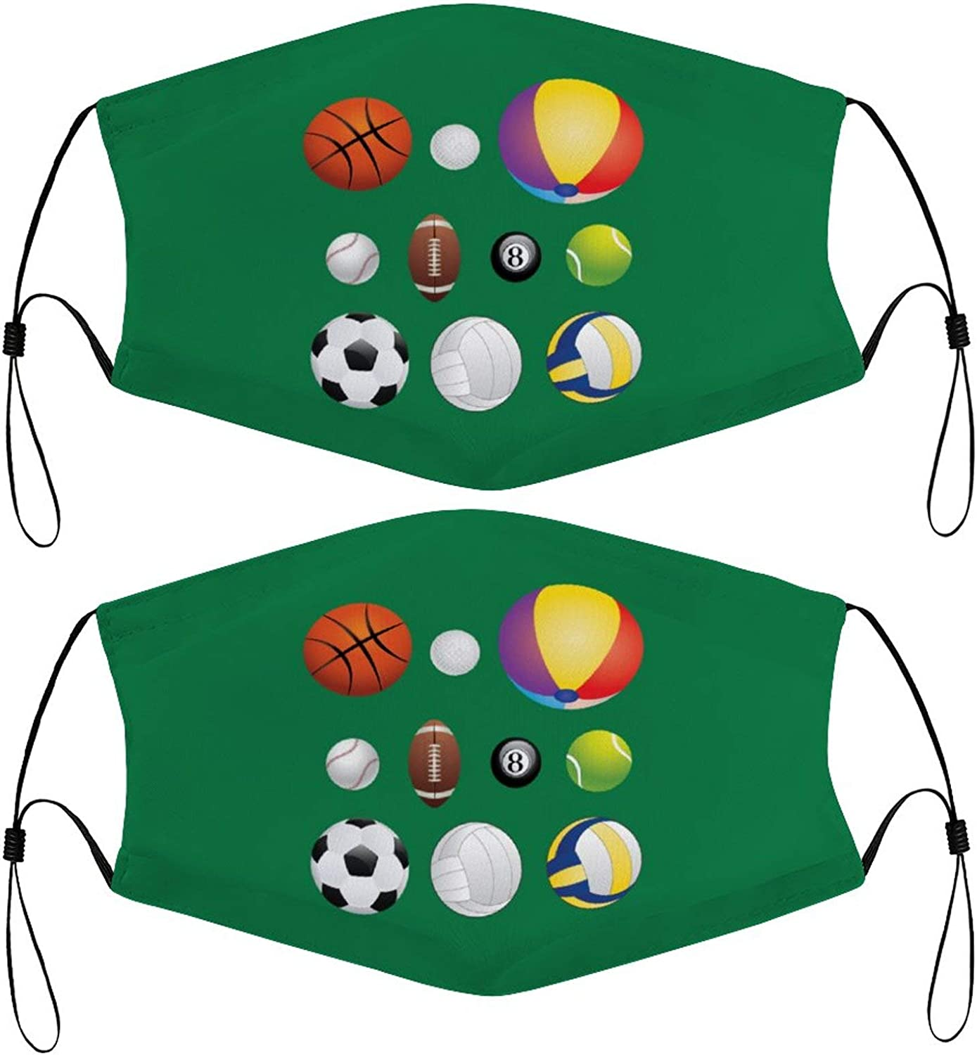 Sports Balls Kids Face Masks Set of 2 with 4 Filters Washable Reusable Breathable Black Cloth Bandanas Scarf for Unisex Boys Girls