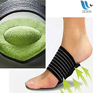 JERN Extra Thick Cushioned Compression Arch Support - Padded Comfort for Plantar Fasciitis, Fallen Arches, Heel Spurs, Flat Feet, Achy Foot Pain -Pair
