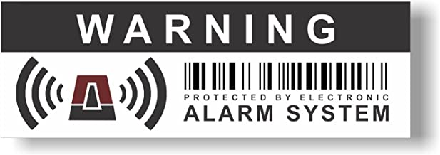 12 x Security Alarm Warning Sign Stickers - for internal and external use - Protection for home, car... - Weatherproof - Size: 4,1 x 1,4 in -