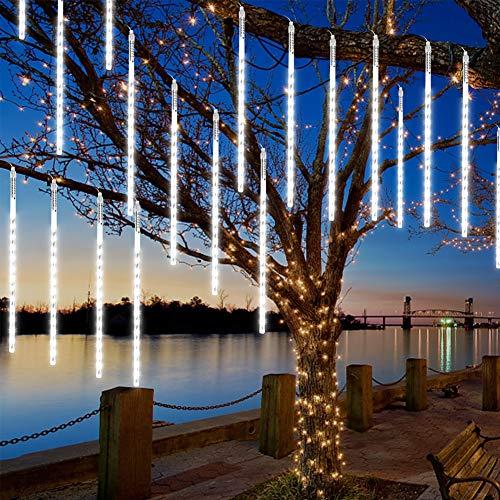 CrazyFire Meteorschauer Lichter, 50cm 10 Röhren 480 LEDs Meteorschauer Regen Lichter, Wasserdichte Schneefall Lichterkette, Fallende Lichter für Zuhause, Festival, Garten, Straßen - Kaltes Weiß