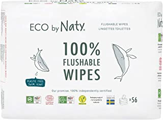 Eco by Naty Eco By Naty Flushable Baby Wipes, 168 Count (3 Packs 56), Plant-based Compostable Wipes, 0% Plastic., 168 Count