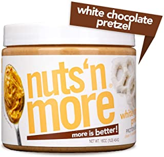 Nuts 'N More White Chocolate Pretzel Peanut Butter Spread, All Natural High Protein Nut Butter Healthy Snack, Omega 3's, Antioxidants, Low Carb, Low Sugar, Gluten-Free, Non-GMO,16 oz Jar