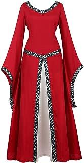 Renaissance Irish Medieval Dress for Women Plus Size Long Dresses Lace up Costumes Retro Gown