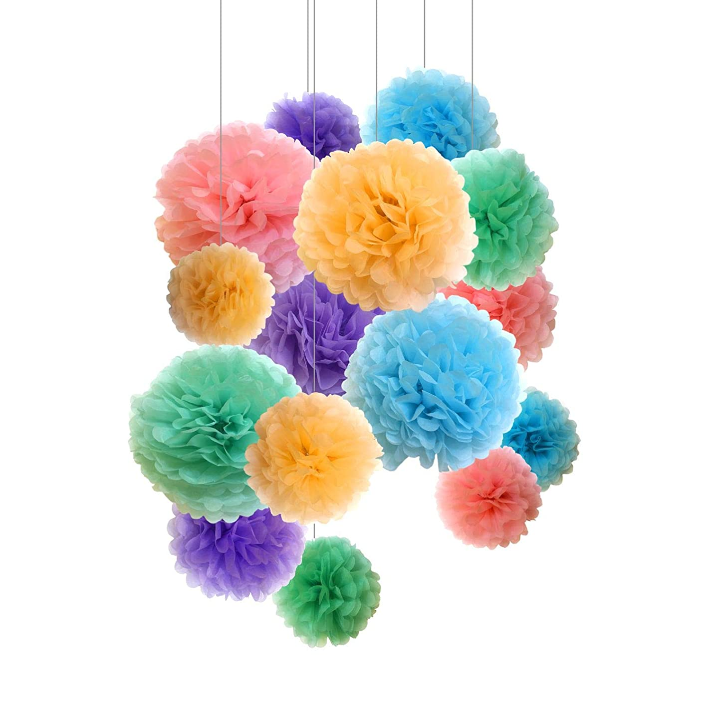 Paper Pom Poms - 15 pcs of 10, 12, 14 Inch - Paper Flowers - Perfect For Wedding Decor - Birthday Celebration - Wedding Party and Outdoor Decoration (Light)