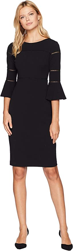 Solid Bell Sleeve Sheath Dress